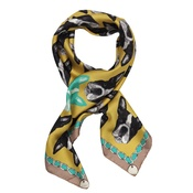 Lisa Bliss - Boston Terrier Print Silk Scarf - Yellow & Mink