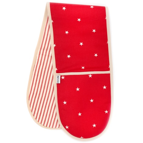 Cranberry Star Cotton with Red Ticking Stripe Oven Glo