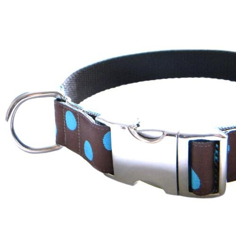 Blue Dots on Chocolate Brown Dog Collar 3
