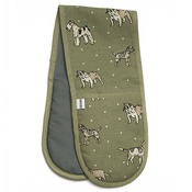 Mutts & Hounds - Dogs Linen Oven Gloves - Green