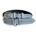 Grey Leather Dog Collar - Pastel Grey