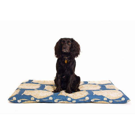 Owl Motif Dog Roll Bed - Navy