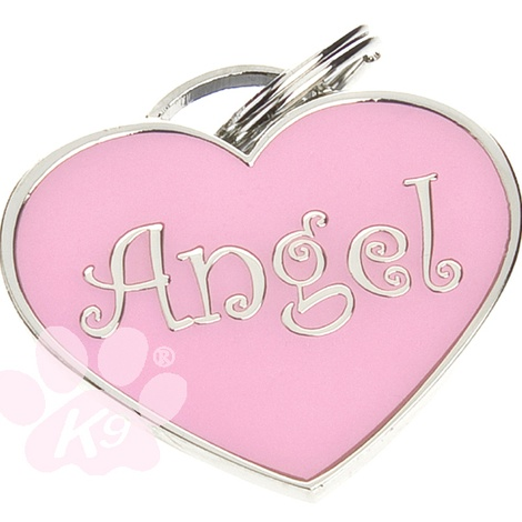 Heart shaped Angel ID tag