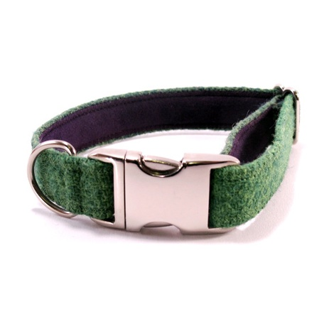 Bright Green Harris Tweed Dog Collar