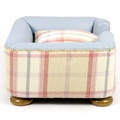The Tetford Square Blue Leather & Sorbet Tweed Dog Bed 4