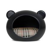GuisaPet - Small Black Dog Cave with Tartan Cushion