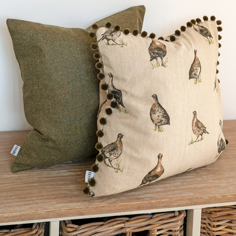 Grouse Linen Cushion with Olive Pom Poms   2