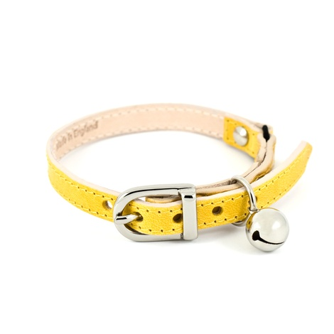 Yellow Leather Cat Collar