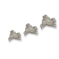 Set of 3 Flying Pugs - Silver