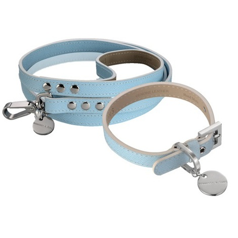 Saffiano Leather Dog Collar & Lead Set - Baby Blue