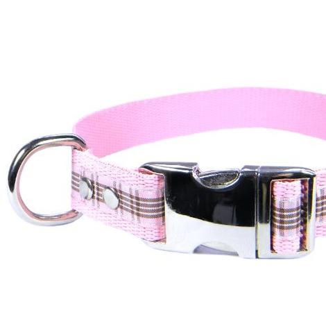 Scottish Raspberry Tartan Dog Collar – Light Pink 2