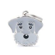 My Family - Schnauzer Engraved ID Tag – Grey