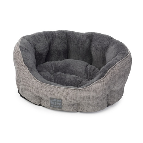 Grey Hessian Oval Dog Bed