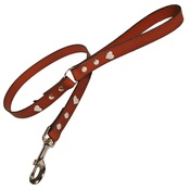 Creature Clothes - Tan Silver Hearts Classic Leather Dog Lead