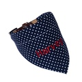 Personalised Dog Bandana – Navy & White Polka Dot 3