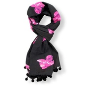 Pugs Might Fly - Biddy Pug Scarf - Black with Neon Pink Pugs