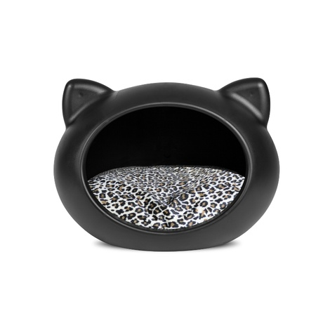 Black Cat Cave with Animal Print Cushion