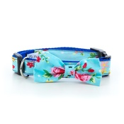 "Pet Pooch Boutique - Blue Vintage Primrose Dog Bow Collar 1"" Width"