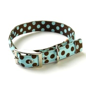Yellow Dog - Blue and Brown Polka Collar Uptown Range