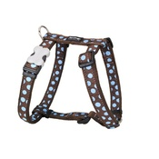 Red Dingo - Dog Harness - Blue Spots on Brown