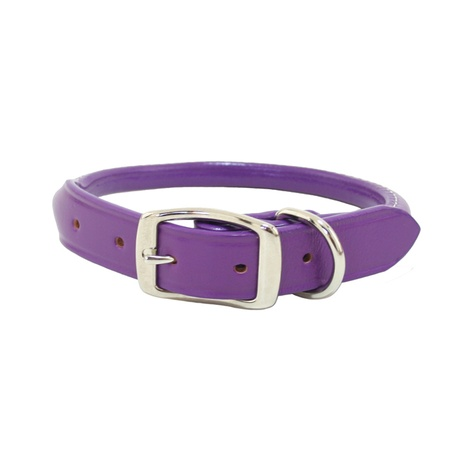 Rolled Leather Dog Collar – Purple