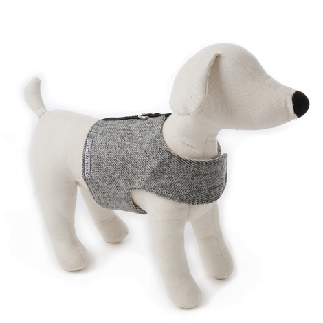 Stoneham Grey Tweed Dog Harness 2