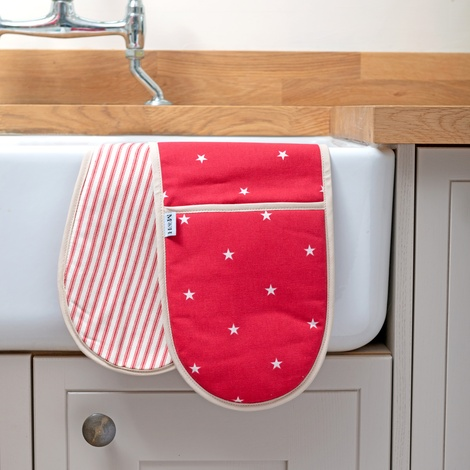 Cranberry Star Cotton with Red Ticking Stripe Oven Glo 2