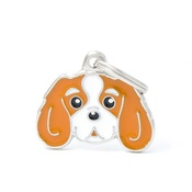 My Family - Cavalier King Charles Spaniel Engraved ID Tag – Tan