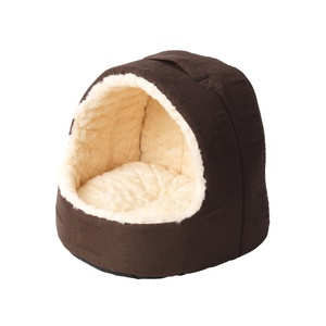 Cream Faux Fur & Suede Hooded Cat Bed