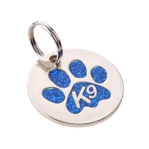 K9 Glitter Blue Paw Dog ID Tag