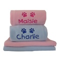 Personalised Fleece Puppy Blanket - Pale Pink 2