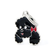 My Family - Poodle Engraved ID Tag – Black