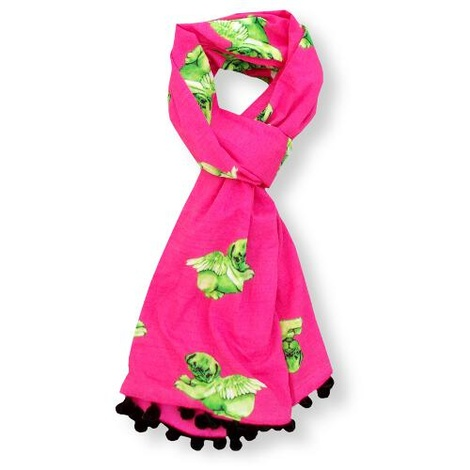 Biddy Pug Scarf - Neon Pink with Green Pugs