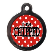 PS Pet Tags - I'm Chipped Polka Dot Pet ID Tag - Red