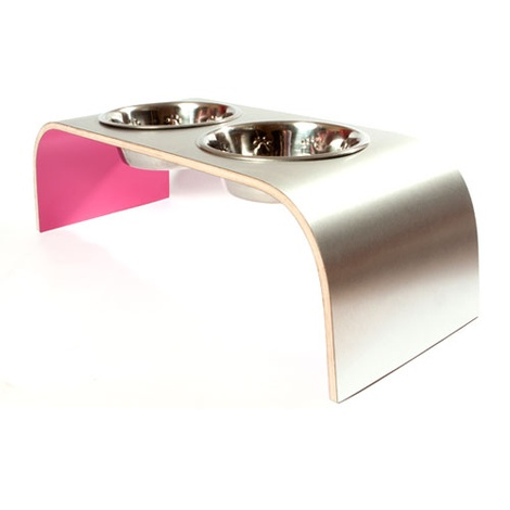 Pink Aluminium Pet Feeder