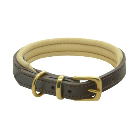 Brown & Cream Colours Leather Collar