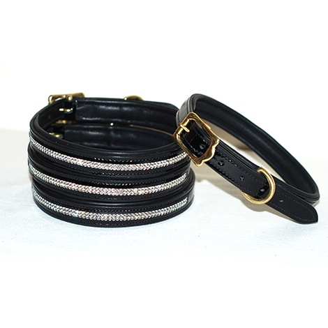 Patent Leather Sparkling Dog Collar in Black