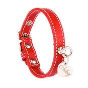 Chihuy - Red and Silver Stitch Leather Collar