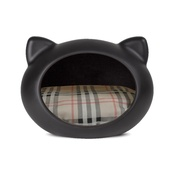 GuisaPet - Black Cat Cave with Tartan Cushion