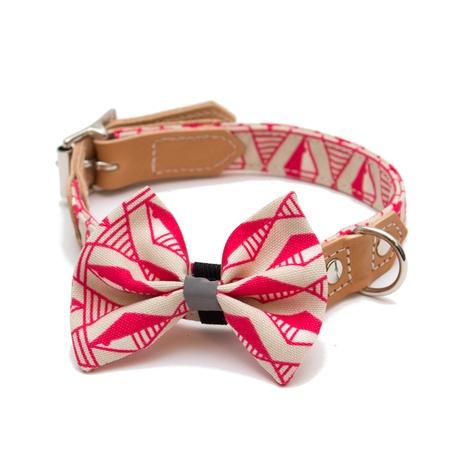 Geo Pink Dog Bow Tie 2