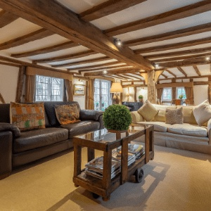 <strong>The Gildhall, Suffolk </strong> An enchanting 16th century dog-friendly thatched cottage in the heart of The Dedham Vale.