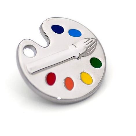 Silver Paint Palette Dog Tag