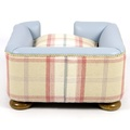 The Tetford Square Blue Leather & Sorbet Tweed Dog Bed 5