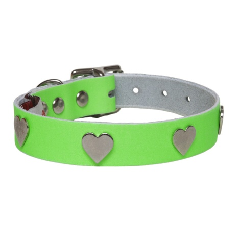 Galaxy Dog Collar - Green, Nickel Hearts
