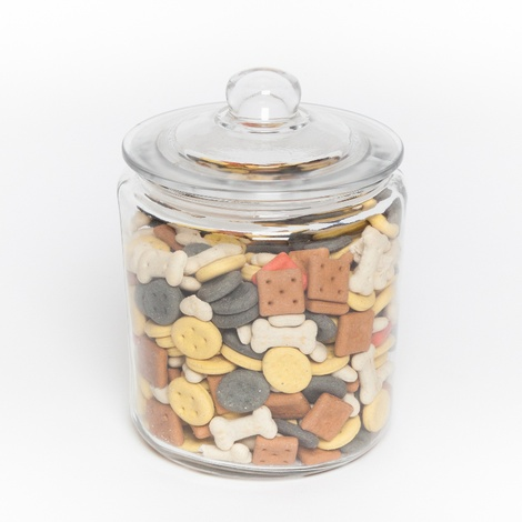 Glass Treat Jar with Dog Biscuits