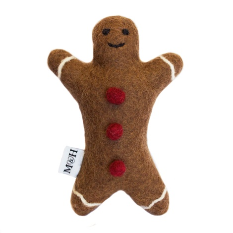 Wool Gingerbread Man Dog Toy