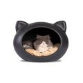 Black Cat Cave with Beige Cushion