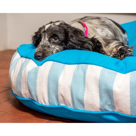 Bon Bon Soft Dog Bed - Blue Stripe 3
