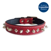 The Paws Pet Supplies - Studded Spikes Red Leather Collar