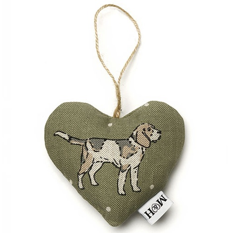 Dogs Linen Lavender Heart Green - Beagle